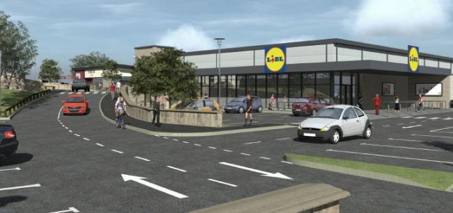 An artist impression of a proposed Lidl and Costa Coffee in Shipley
