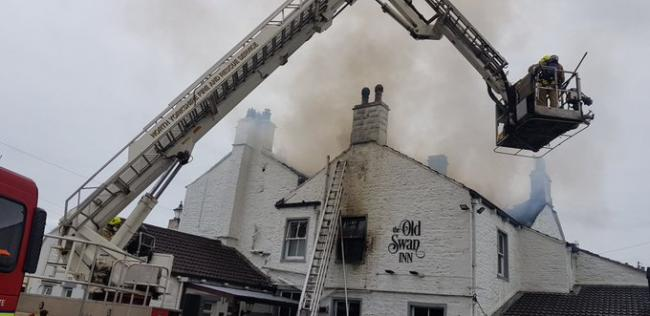 The fire at the Old Swan Inn, Gargrave. Picture: Martyn Hughes/North Yorkshire Fire and Rescue Service