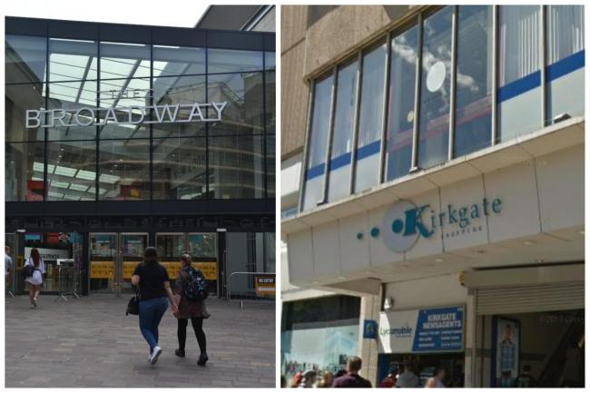 The Broadway and Kirkgate Shopping Centre. A number of stores have closed in The Broadway and there's speculation that TJ Hughes will not re-open in the Kirkgate Shopping Centre