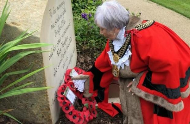 Bradford Telegraph and Argus: The Lord Mayor of Bradford, Councillor Doreen Lee, lays a wreath to commemorate the Bradford Pals last month