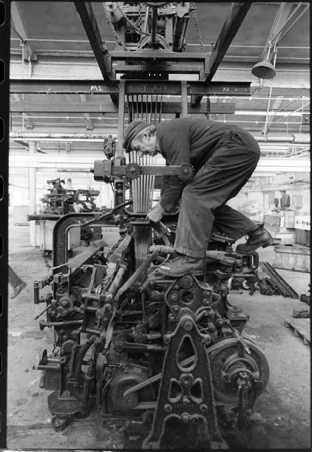 Bradford Telegraph and Argus: Dismantling looms at Salts Mill in 1986