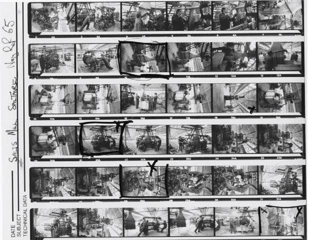 "Bradford Telegraph and Argus: Beesley: ""Contact sheet of 35mm film of a loom being dismantled at Salts Mill 1986. I returned in 2017 to re-photograph various sites in the mill, using the very same camera (a leica M6) I used 30 years before."""