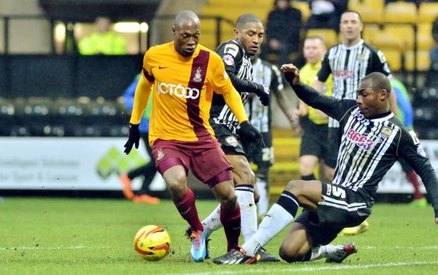 Bradford Telegraph and Argus: Kyel Reid dribbles his way through the Notts County defence