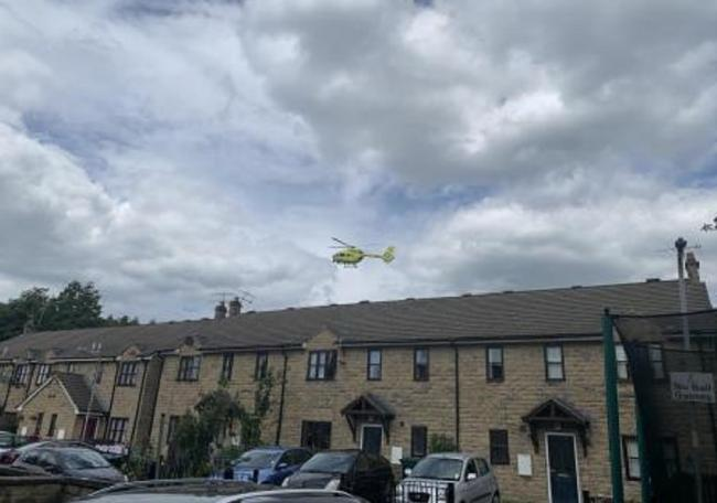 An air ambulance arriving. Pictured from Komla Close