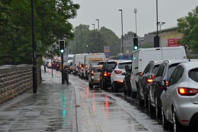 Tong Street pictured with its usual rush hour traffic
