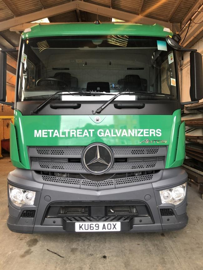 A lorry with the new Metaltreat Galvanizers name