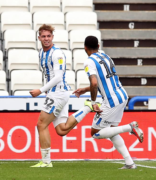 Huddersfield Town's Emile Smith Rowe celebrates scoring his side's second goal of the game