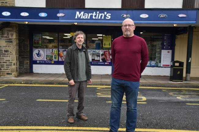 Baildon Labour Party chair Simon Hatfield (left) and branch secretary Peter Ashton outside the Martin's store