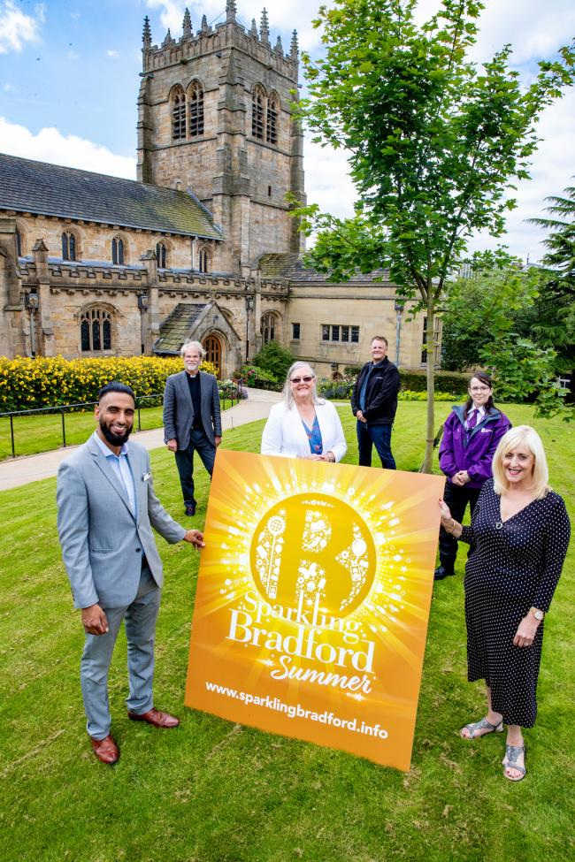 Pictured are Sparkling Bradford partners Mohammed Iftikar from Kala Sangam, The Very Rev'd Jerry Lepine Dean of Bradford, Coun Sarah Ferriby, Ian Ward, Sarah Crossley of Bradford BID and Patricia Tillotson from VisitBradford.