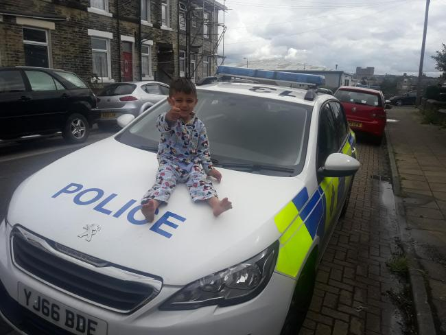 Eid Morning Woke Up 2 My Son Sitting On Police Car. Happy Eid.
