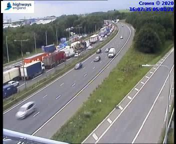 Queuing traffic on the M62