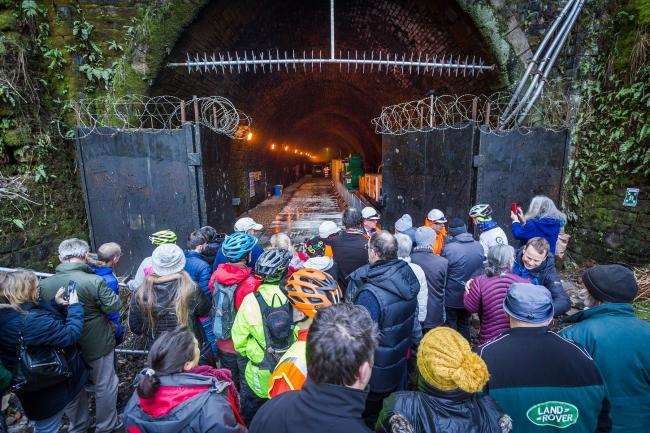 Campaigners at the North Portal of Queensbury Tunnel. Picture: Four by Three