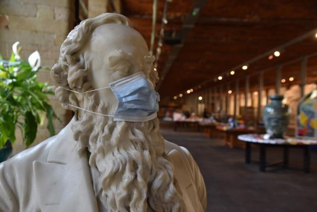Sir Titus Salt wears a face mask as Salts Mill gets ready to reopen