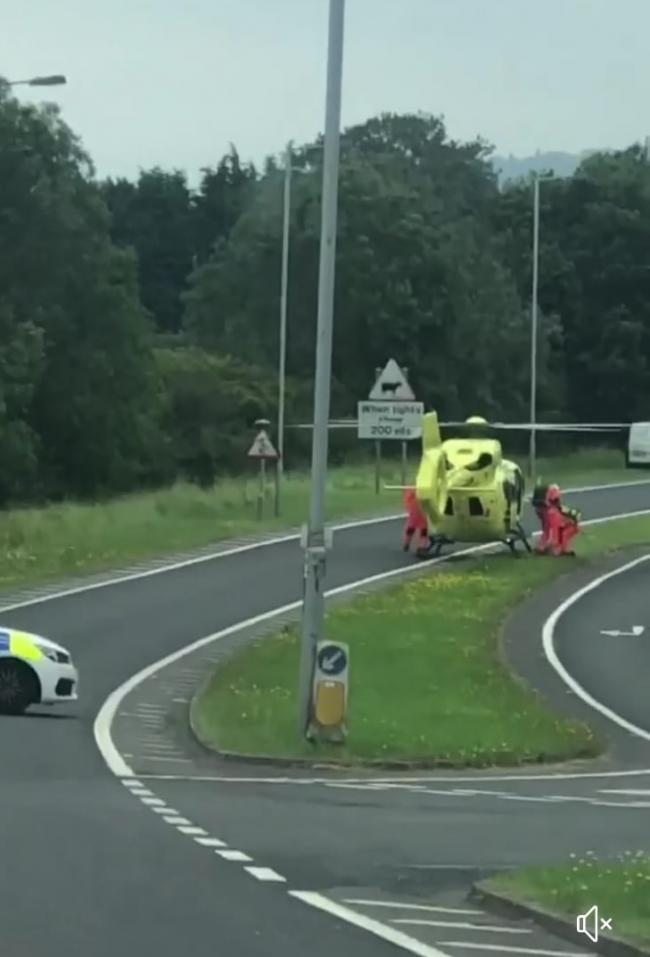 The Air Ambulance at an accident on the A65, between Ilkley and Addingham.