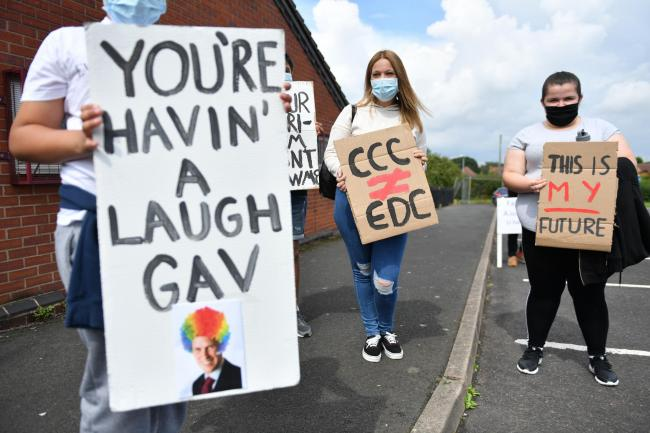 Students protesting over the A-level results system