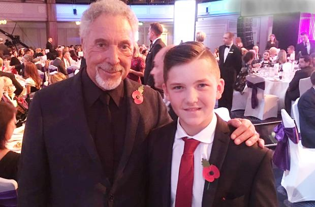 Bradford Telegraph and Argus: Dylan Graves with Sir Tom Jones at the 2016 Pride of Britain Awards