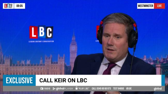 Sir Keir Starmer 'self-isolating' after household member develops Covid-19 symptoms. Picture: LBC