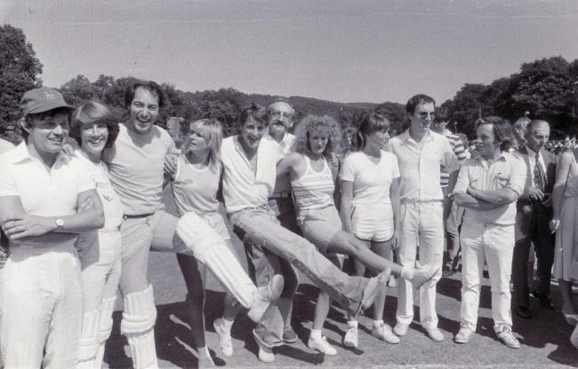Stars of Emmerdale Farm in a charity cricket match in Esholt in 1983
