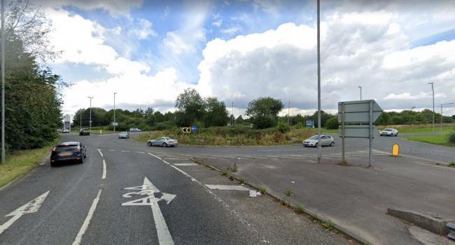 The roundabout near Handforth Dean retail park, close to the scene of the incident