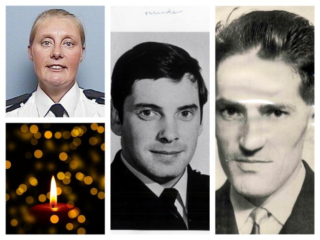 From left: Police officers Sharon Beshenivsky, Michael Hawcroft and Barry Taylor, who have all been killed in the line of duty