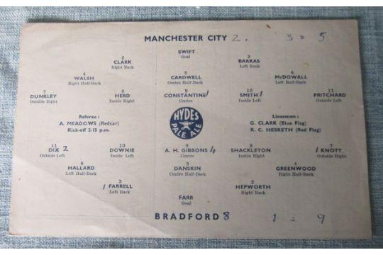 Bradford Telegraph and Argus: Manchester City v Bradford (Park Avenue) line-ups for a 1946 FA Cup tie between the teams
