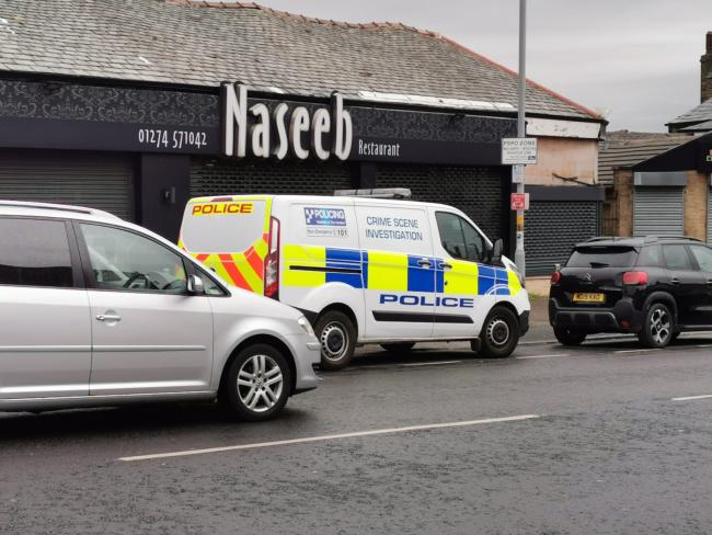 A police CSI van near the scene of the incident this morning