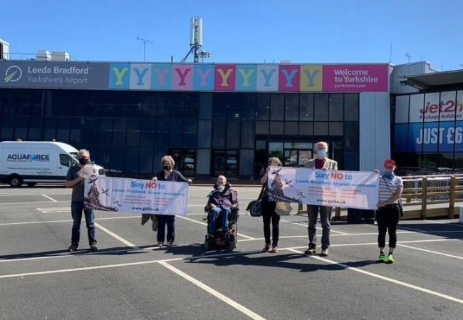 GALBA protesters outside Leeds Bradford Airport
