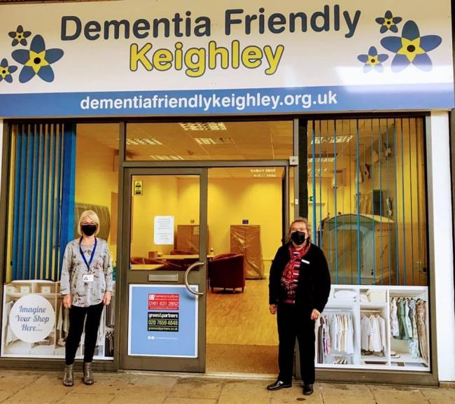 Sue Gilroy and Barbara Wood outside the Dementia Friendly Keighley centre