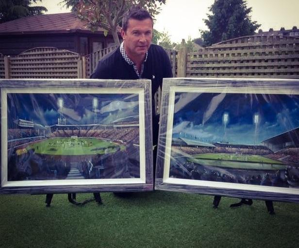 Paul Town, of Baildon, with two of his paintings available through his Stadium Portraits business