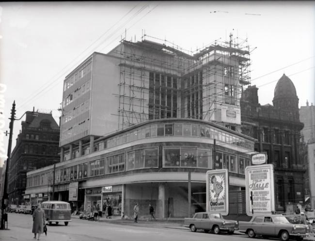 The Broadway block under construction. In the background, left, is the doomed Swan Arcade.
