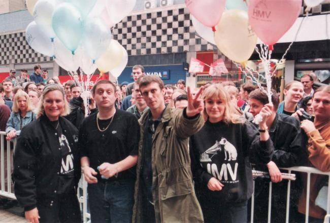 Shaun Ryder and Bez from Happy Mondays at HMV in Bradford