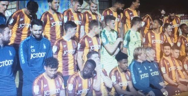 Bradford City's squad get ready for their annual team group photo