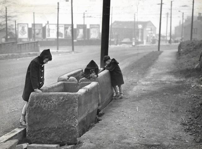 A similar stone horse trough in Clayton pictured in 1961