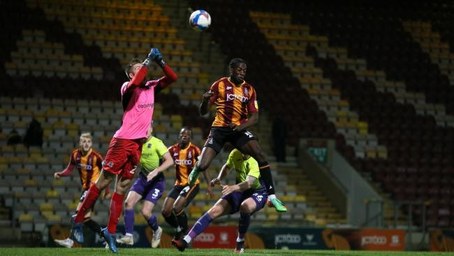 Nobody is there to see it again as City put the pressure on Exeter. Picture: Thomas Gadd