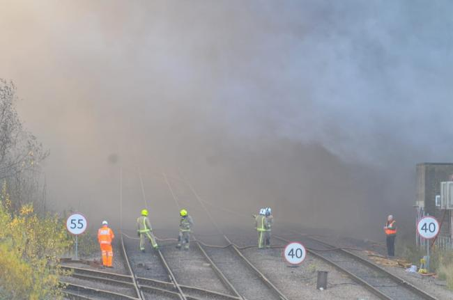 A remarkable scene at Mill Lane junction as smoke from an intense fire blew across the rail line on the approach to Bradford Interchange