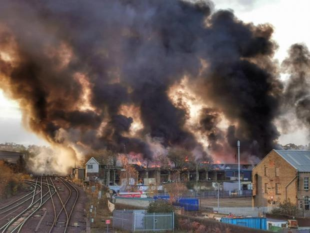 A huge scrap tyre fire erupted in Bradford, at a former go-kart track, off Spring Mill Street, on Monday. Pic: T&A Camera Club member Anna Dyson-Clarke