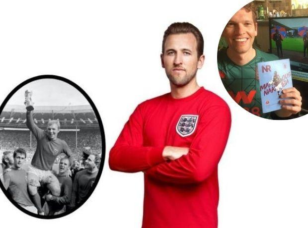 Harry Kane and T&A reporter Mark Stanford, top right, show their colours to mark Football Shirt Friday