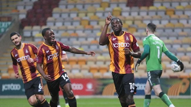 Clayton Donaldson celebrates scoring a penalty in Bradford City's 2-1 defeat to Oldham Athletic in the FA Cup second round. Picture: Thomas Gadd