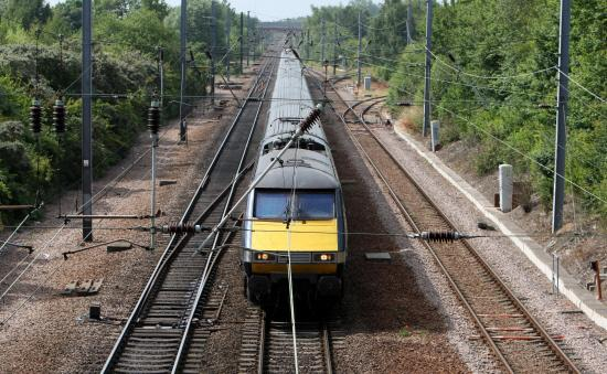 A train on the East Coast Main Line, which has been hit by problems today