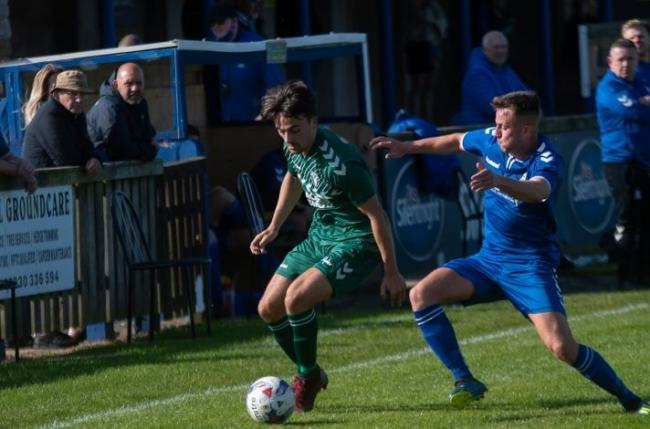 Steeton in action earlier this season in the FA Vase against Jarrow Picture: John Chapman