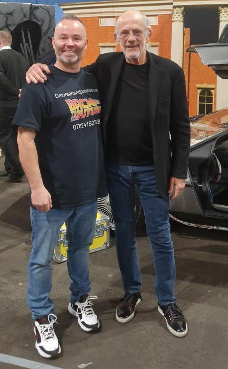 Bradford Telegraph and Argus: Mike Hutchinson with actor Christopher Lloyd, who starred as Doc Brown in the Back to the Future films