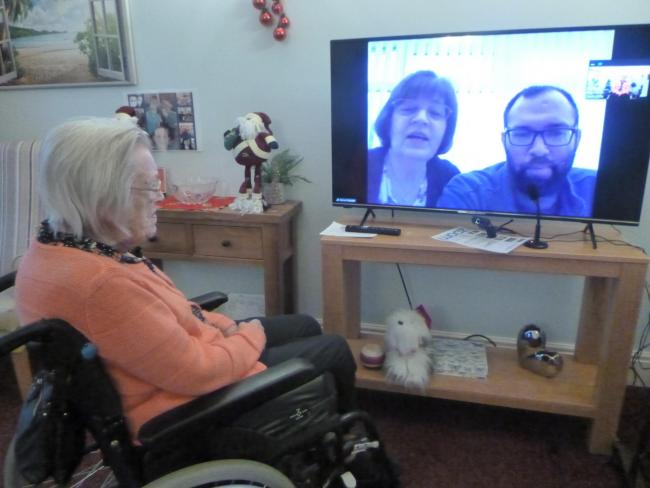 Herncliffe Care Home resident Helen Harper uses the Zoom Room