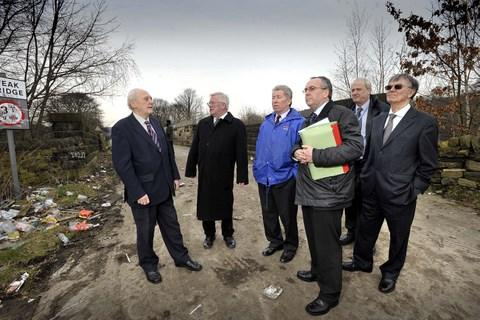 Councillor Michael Ellis (second left) and John Eyles (third from right), major developments manager for Bradford Council, with other councillors and officers inspecting the station area and access roads