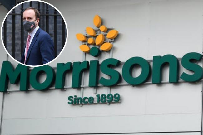Matt Hancock praises Morrisons for rule change in UK stores. (PA/Canva)