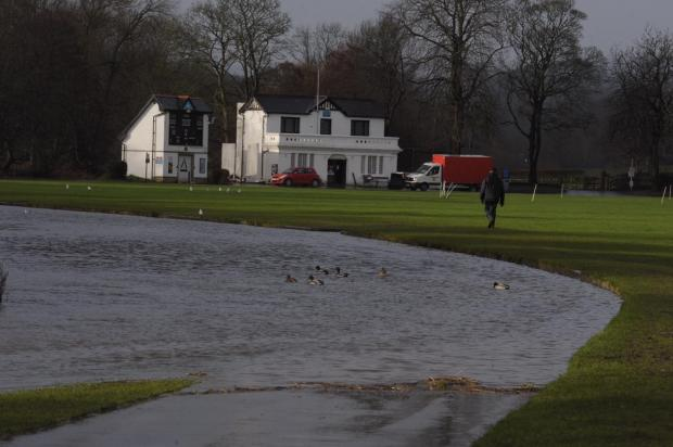Bradford Telegraph and Argus: The River Aire at Roberts Park, Saltaire, yesterday