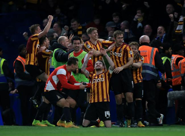 Bradford City's squad celebrate after beating Chelsea in the FA Cup at Stamford Bridge, remembered six years on by City fans