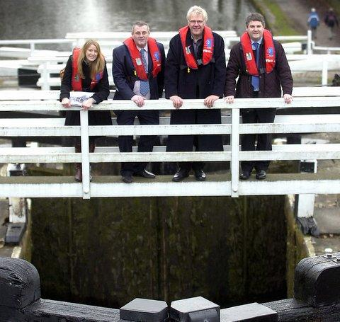 Jo Keegan, David Heseltine, Laurence Morgan and Philip Davies at Five Rise Locks in Bingley, where plans have had to be scaled down