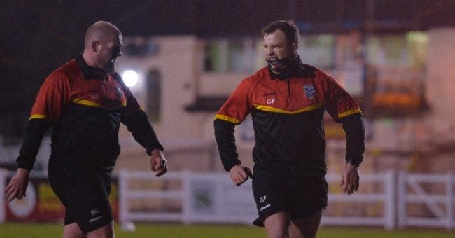 George Flanagan, left, in training with Bulls skipper Steve Crossley. Picture: Tom Pearson