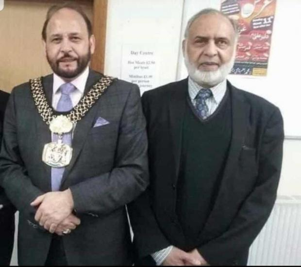 Bradford Telegraph and Argus: The late Cllr Abid Hussain with Sangat Centre's Ghulam Rabani