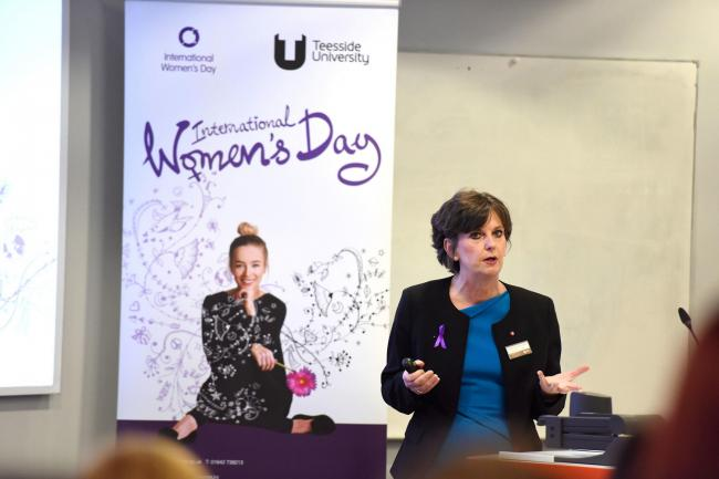 Professor Jane Turner, OBE DL, speaking at a previous International Women's Day event at Teesside University